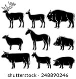 set of monochrome wild and...   Shutterstock .eps vector #248890246