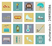 winter sports flat icons set... | Shutterstock . vector #248900386