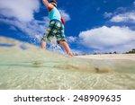 happy boy running and jumping... | Shutterstock . vector #248909635