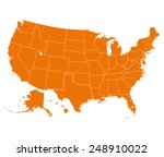 map of usa in orange color.... | Shutterstock .eps vector #248910022