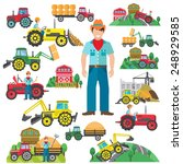 farm tractor and industrial... | Shutterstock .eps vector #248929585