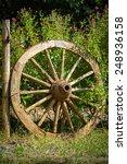 An Old Wagon Wheel Displayed As ...