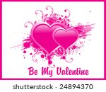 two romantic pink hearts ... | Shutterstock .eps vector #24894370