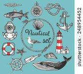 hand drawn nautical vintage set.... | Shutterstock .eps vector #248954452