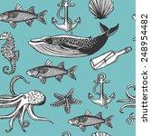 hand drawn vintage nautical... | Shutterstock .eps vector #248954482
