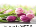 bouquet of tulips on table... | Shutterstock . vector #248975992