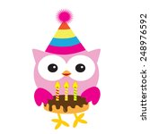 cute birthday owl vector... | Shutterstock .eps vector #248976592