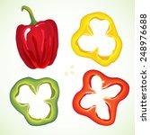 sliced sweet bell pepper set.  | Shutterstock .eps vector #248976688