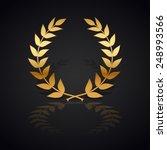 gold laurel wreath with  shadow ... | Shutterstock .eps vector #248993566