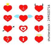 valentine heart icon set....   Shutterstock .eps vector #249020716