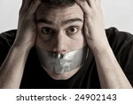 man with mouth covered by... | Shutterstock . vector #24902143
