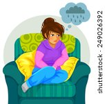 sad girl sitting on the sofa...   Shutterstock .eps vector #249026392