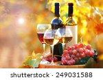 Tasty Wine On Wooden Barrel On...