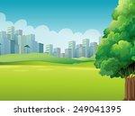 a green landscape across the... | Shutterstock .eps vector #249041395
