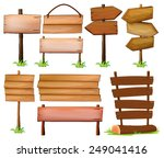 set of wooden signboards on a... | Shutterstock .eps vector #249041416