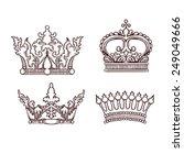 hand drawn heraldic crown set | Shutterstock .eps vector #249049666