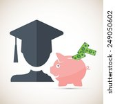 college fund   piggy bank money ... | Shutterstock .eps vector #249050602