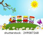 happy kids on a colorful train | Shutterstock .eps vector #249087268