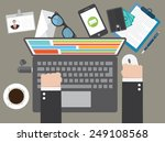 concept of teamwork business... | Shutterstock .eps vector #249108568