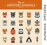 Cute fashion Hipster  Animals  of vector icons large set illustrator vector modern concept of flat design | Shutterstock vector #249116566