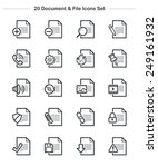document   file icons set  line ... | Shutterstock .eps vector #249161932