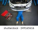 mechanic lying and working... | Shutterstock . vector #249165616