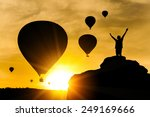 silhouette of happy man on the... | Shutterstock . vector #249169666
