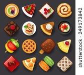 dessert icon set 2 | Shutterstock .eps vector #249173842