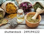 healing herbs in hessian bags ... | Shutterstock . vector #249194122