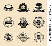 vector vintage fast food logo... | Shutterstock .eps vector #249196246