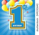 happy first birthday background | Shutterstock .eps vector #249232642