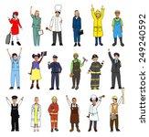 multiethnic group of children... | Shutterstock . vector #249240592