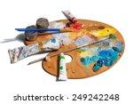 wooden art palette with  tubes... | Shutterstock . vector #249242248