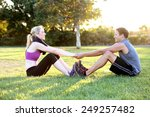 happy young couple exercising... | Shutterstock . vector #249257482