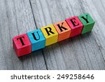 word turkey on colorful wooden... | Shutterstock . vector #249258646