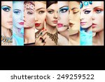 beauty collage. faces of women. ... | Shutterstock . vector #249259522