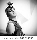 black and white retro style... | Shutterstock . vector #249265558
