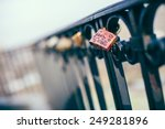 A Love Padlock Attached To A...