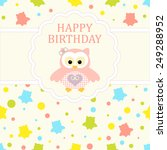 baby girl arrival card. baby... | Shutterstock .eps vector #249288952