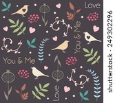 floral pattern with birds ... | Shutterstock .eps vector #249302296