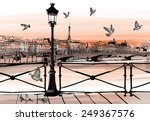 sunset on seine river from pont ... | Shutterstock .eps vector #249367576