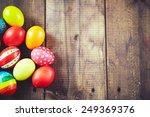 Easter Symbols On Wooden...