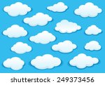 White Fluffy Cloud Icons On A...
