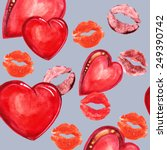 heart and lips  watercolor | Shutterstock . vector #249390742