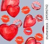heart and lips  watercolor | Shutterstock . vector #249390742