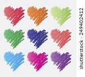 set of colorful heart icons in... | Shutterstock .eps vector #249402412