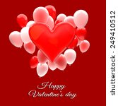 valentine's day card with 3d... | Shutterstock . vector #249410512