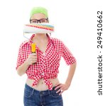 Small photo of Worker female holding paint roller afore her face ,isolated on white