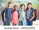 happy multi race classroom... | Shutterstock . vector #249413992