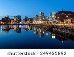 skyline of liverpool docks...